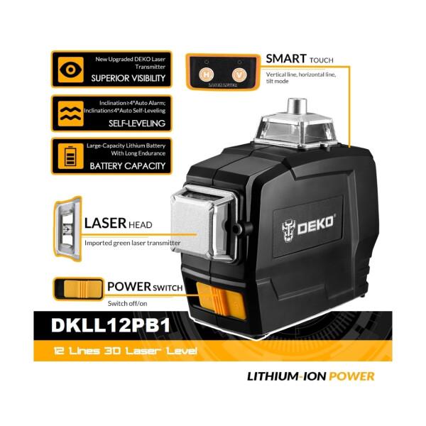 Лазерный уровень Deko DKLL12PB1 (зеленый луч) 3D 12 линий
