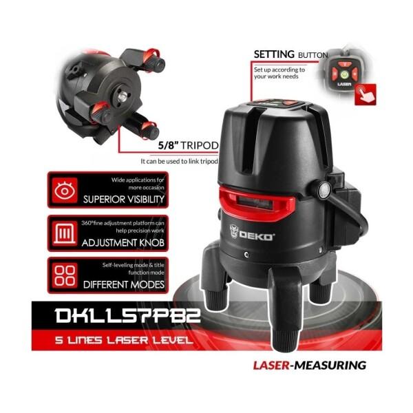 Лазерный уровень Deko DKLL57PB2 (бирюзовый луч) 5 линий