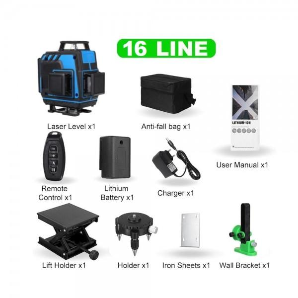 Лазерный уровень Hemuyou 4D 16 линий (зеленый луч) NEW 2020