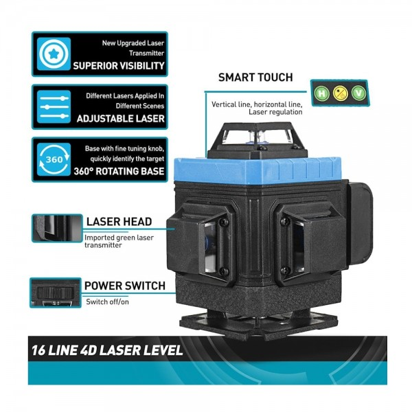 Лазерный уровень Hemuyou 4D 16 линий (зеленый луч) NEW 2021