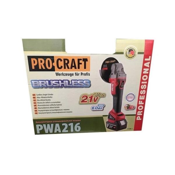 Болгарка аккумуляторная Procraft PWA216 (бесщеточная)